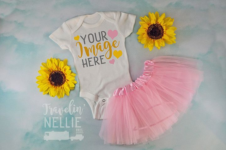 White Bodysuit Mockup One Piece Styled Baby Girl Sunflower