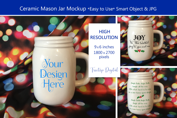 Mason Jar Mug Christmas Mockup, PSD Smart Object & JPG