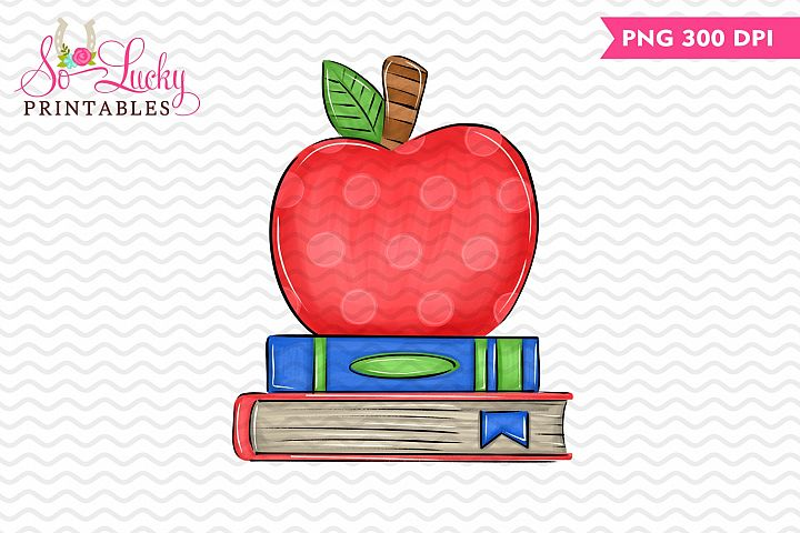 Apple and School Books sublimation design