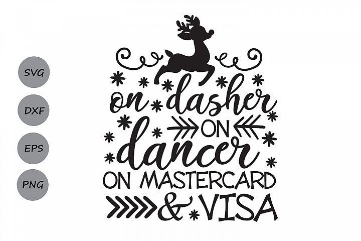 on dasher on dancer on mastercard and visa svg, christmas.