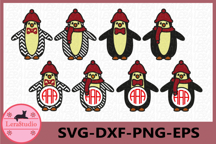 Penguin Monogram Frames Svg, Christmas Penguin Svg