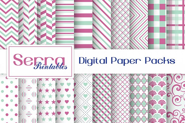 Seamless Mint and Pink Basic Patterns Digital paper pack