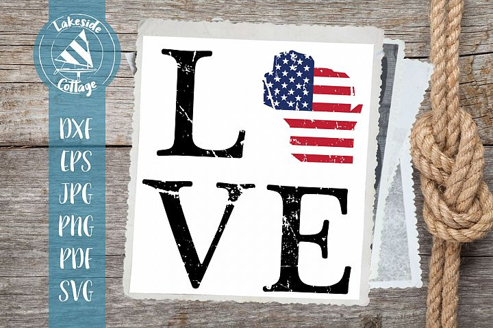 LOVE Wisconsin - 4th of july svg - memorial day svg dxf eps