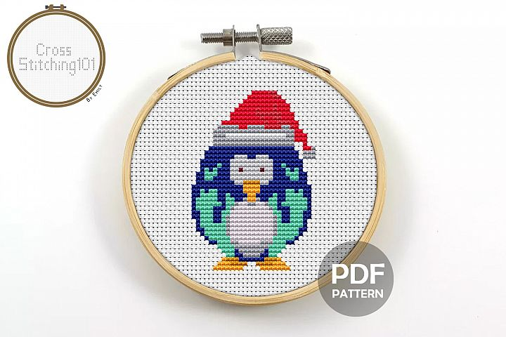 Penguin Xmas Cross Stitch Pattern - Instant Download PDF