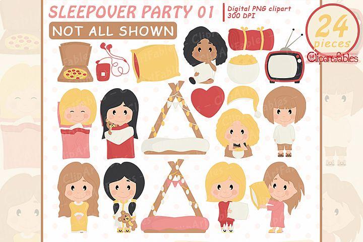 Cute sleepover party clipart, Slumber clip art, movie night