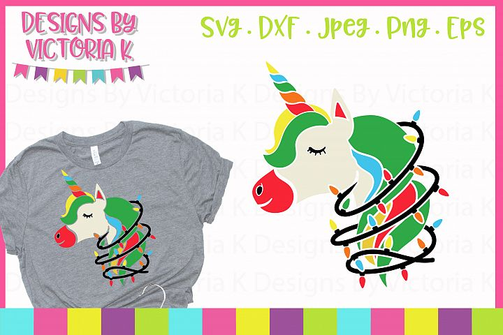 Christmas lights unicorn SVG, DXF