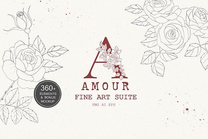 Floral Fine Art Suite, Sketch Vector, Roses Line Art Vector