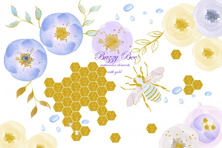 Watercolor clipart with gold. Bee, flowers, rain drops.