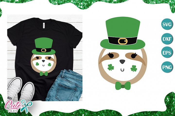 Sloth bear St Patricks svg cut files for crafter