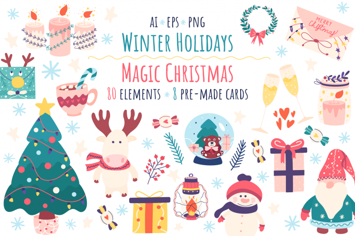 Winter holidays clipart and magic Christmas