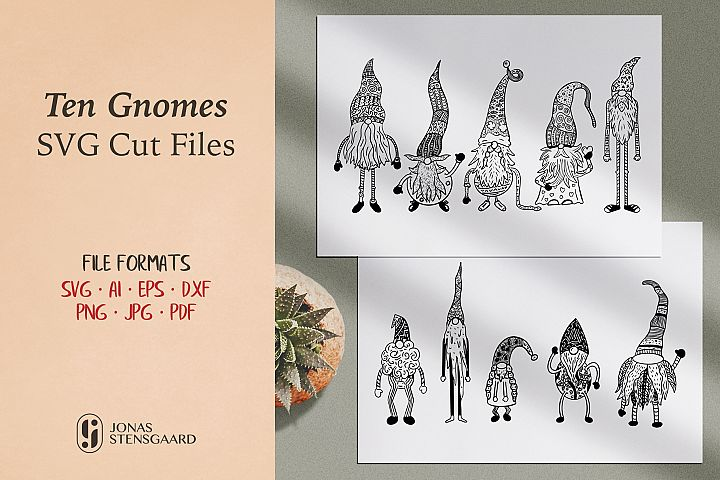 Ten Gnomes SVG Cut Files