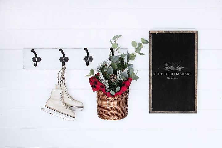 Christmas 12x20 Wood Sign Mock Up Styled Photography