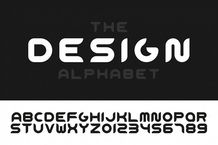 Trendy stylized english alphabet