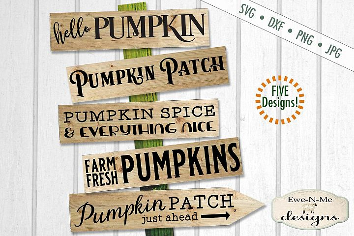 Pumpkin Sign Bundle - Horizontal Pumpkin Patch - SVG