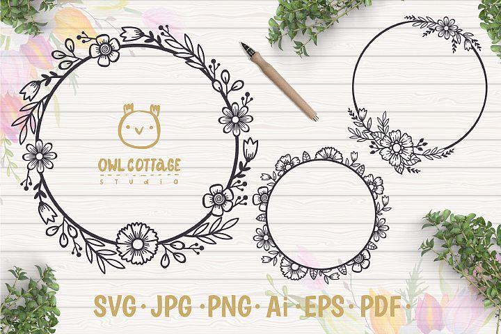 Floral Wreaths SVG, Floral Monograms mini SVG bundle, Weddin