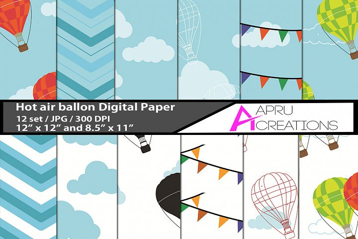 Hot air ballon digital papers