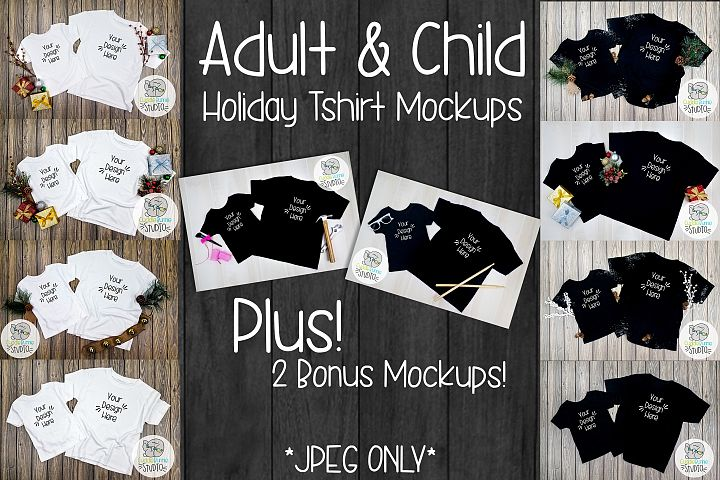 Adult and Child T-Shirt Mockup | A Flat Lay Holiday Theme