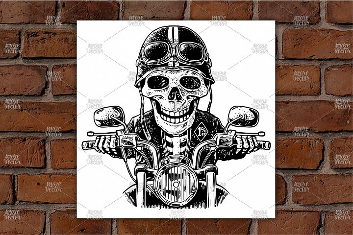 Skeleton driving a motorcycle rides.