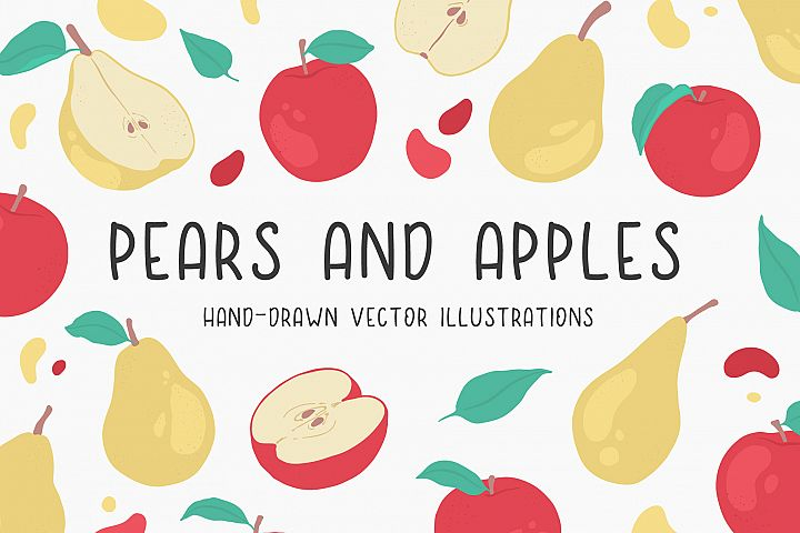 Pears and apples illustrations
