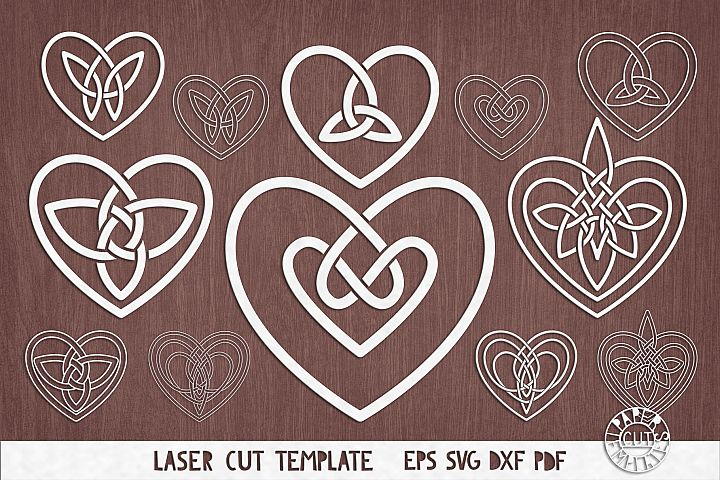 SVG Celtic hearts knot for paper,laser, plotter cutting.