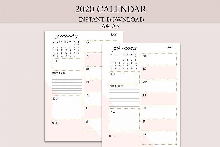 2020 calendar, 2020 planner, 2020 organiser, womens planner