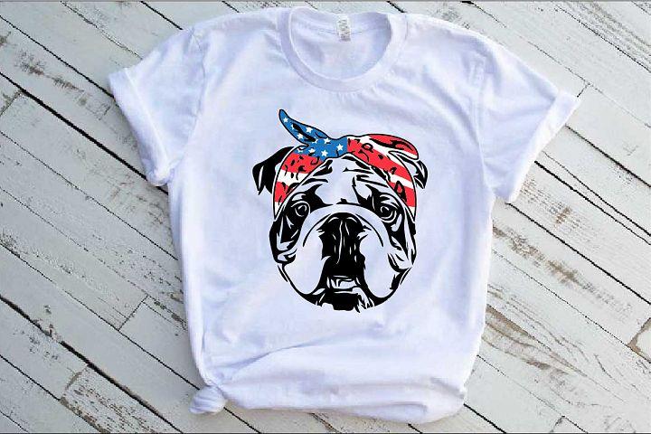 Bulldog USA Bandana Head French Dog 4th July 1376S