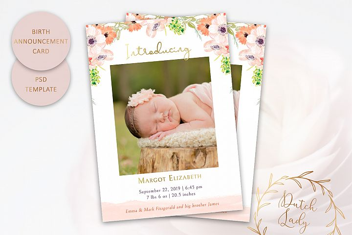 PSD Birth Announcement Card Template - Design #8