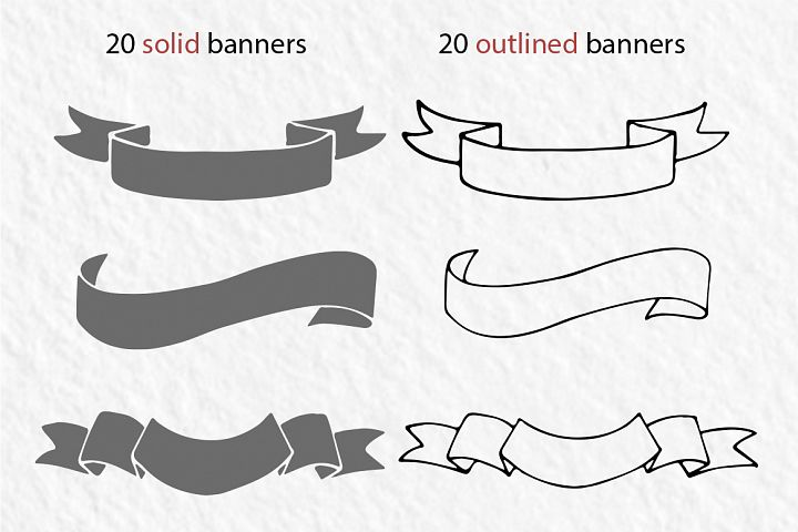 20 hand-drawn ribbons, banners - Free Design of The Week Design 1