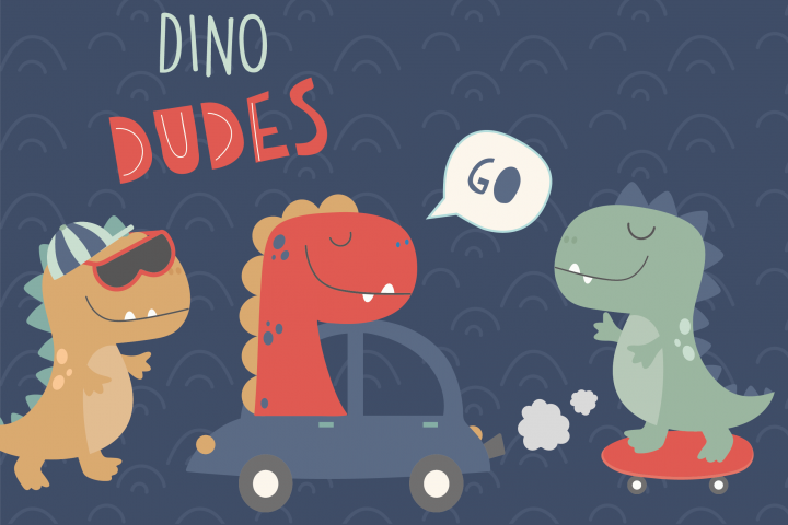Dino Dudes clipart and paper set