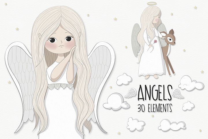 Little angels clipart - Free Design of The Week Font