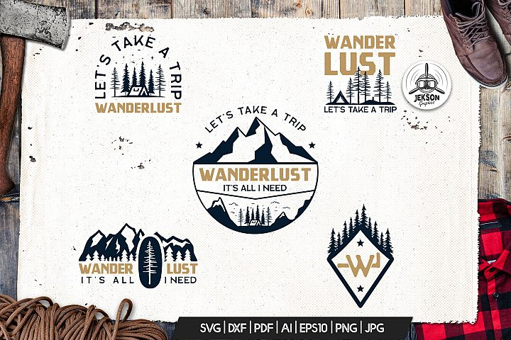 Wanderlust Logo Retro Camping Badge Travel TShirt SVG Cut