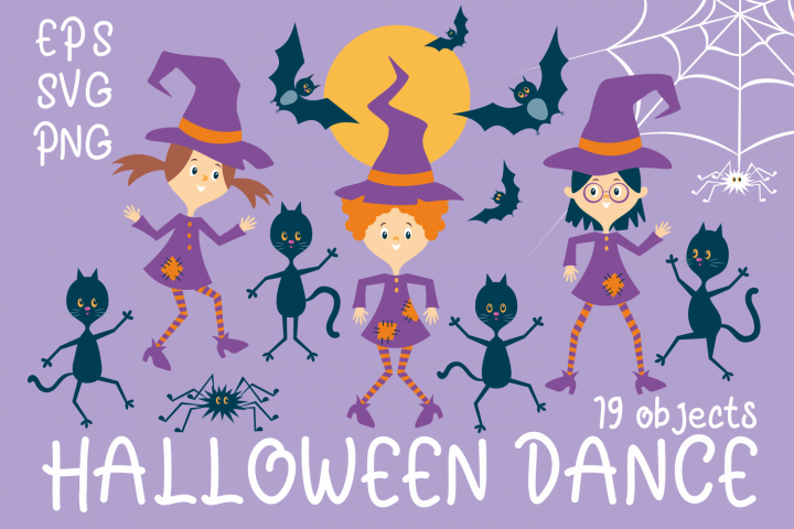 Halloween dance. Funny witches and black cats.