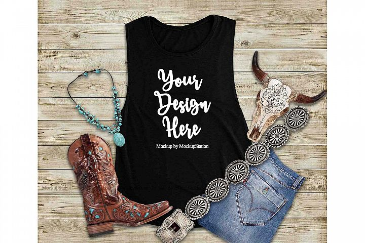 Southwest Black Tank Top Mock Up, Texas Bella Canvas 8803