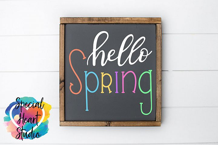 Hand lettered Hello Spring SVG - Home decor, sign, pillow