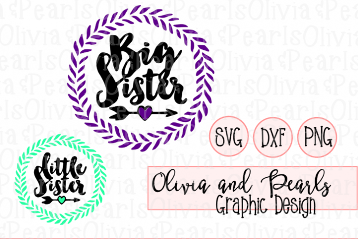 Big Sister and Little Sister, Digital Cutting File, SVG, DXF, PNG for Cameo or Cricut Machine