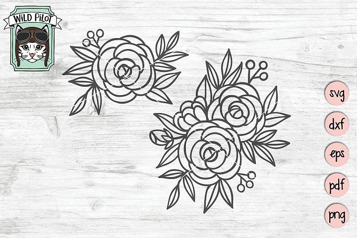 Flowers SVG File, Roses, Floral cut file, Flowers cut file
