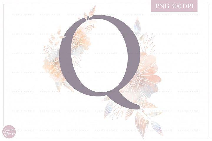 Letter Q Floral MONOGRAM - elegant wedding flower initial
