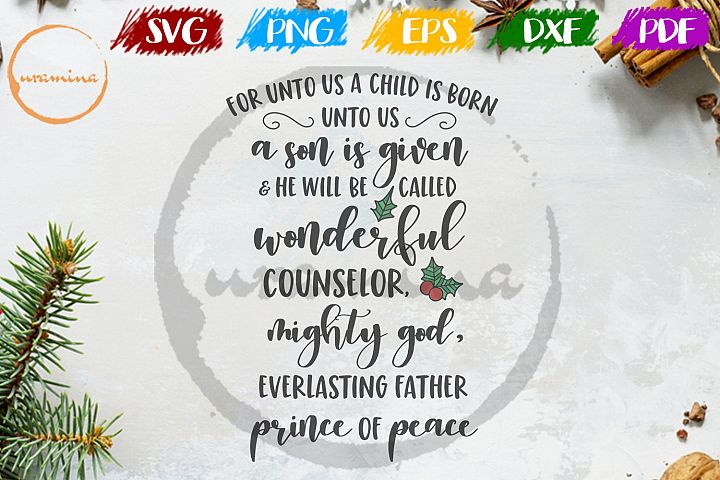 For unto us a child is born SVG PDF PNG