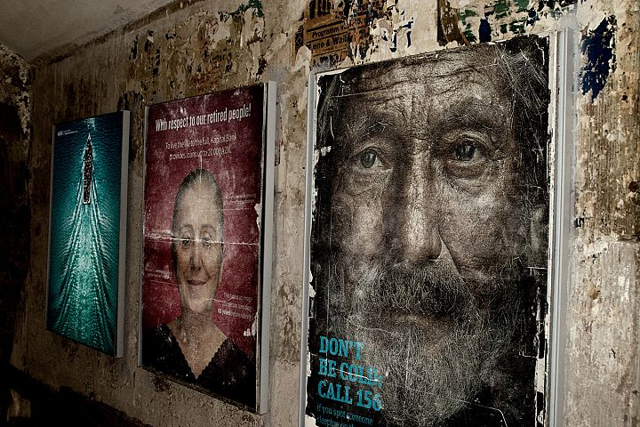 Distressed Posters on Wall Mockup