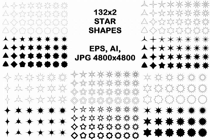 132x2 star shapes (EPS, AI, JPG 4800x4800)