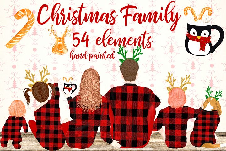 Christmas Family Clipart Family sitting Christmas pajamas
