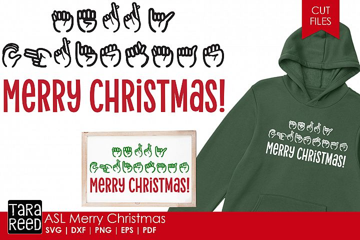 ASL Merry Christmas - Sign Language SVG & Cut Files