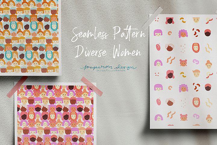 Seamless Pattern Diverse Women