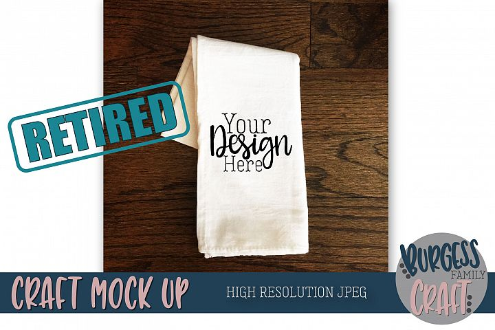 Flour sack tea towel Craft Mock up | High Resolution JPEG
