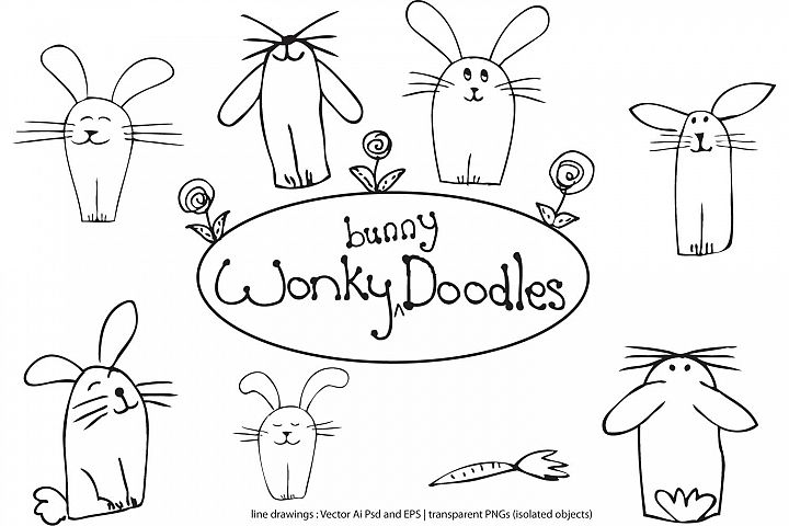 wonky bunny doodle