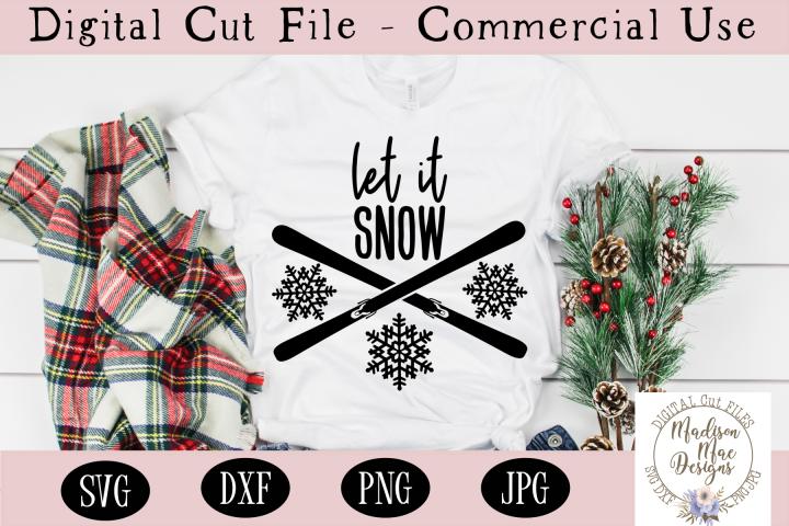 Let It Snow SVG, Skiing SVG, Winter Digital Cut File