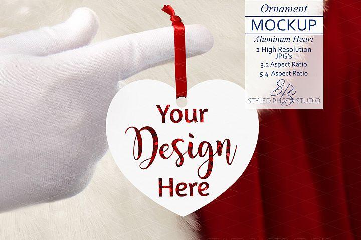 Heart Christmas Ornament Mockup with Santa 3.2 / 5.4