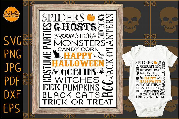 Subway Art Halloween SVG, Sublimation PNG & Printable