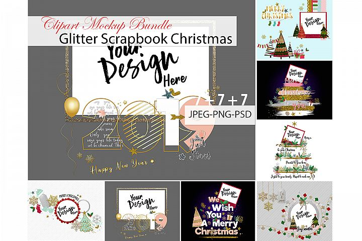 Glitter Scrapbook Christmas Clipart Mockup Bundle