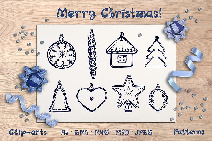 Christmas hand drawn decorations, seamless patterns and card